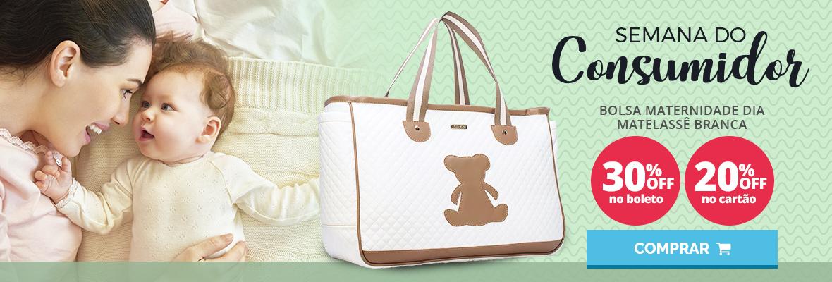 Semana do consumidor - Bolsa maternidade dia matelasse branco