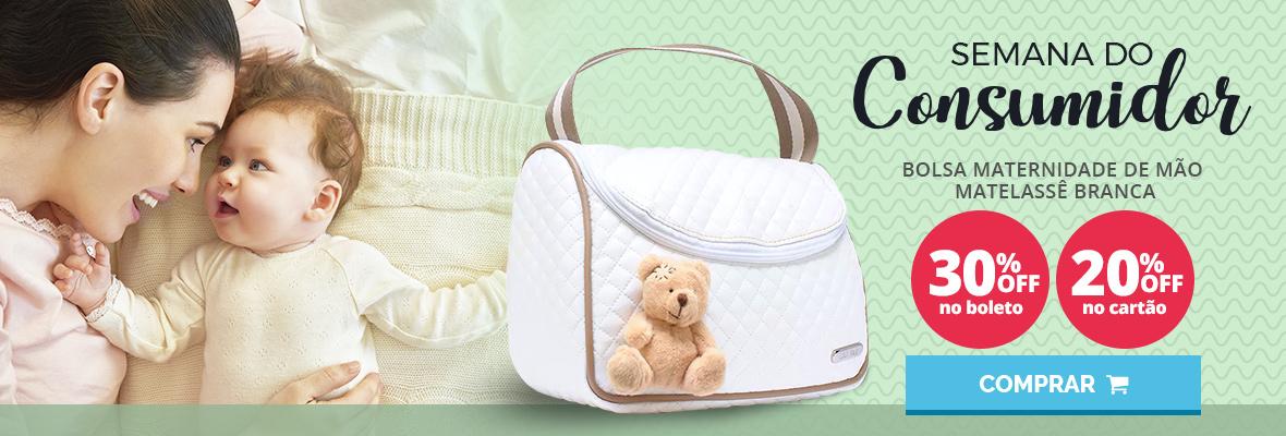 Semana do consumidor - Bolsa maternidade de mao matelasse branca