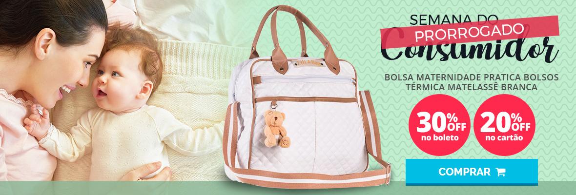 Semana do consumidor - Bolsa maternidade pratica bolsos termica matelasse branca