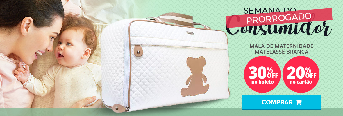 Semana do consumidor - Mala de maternidade maternidade matelasse branca